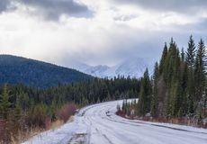 Winter road covered by snow royalty free stock photos