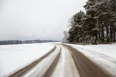 The winter road Stock Photography