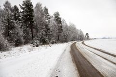 The winter road Stock Image
