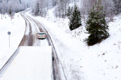 Winter Road. Snow covered conditions Stock Photography