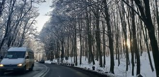 Winter road in early 2019 from cluj county to timisoara city highway  and rural road. Winter road early 2019 clun cluj county timisoara city highway rural royalty free stock photos