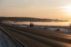 Winter Road in Early Morning Stock Photography