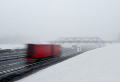 Winter on the road. Winter and fog on Norwegian freeway stock photos