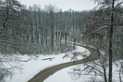 Winter road and forest. Winter Forest Aerial Stock Photo