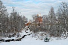 Winter road. Holy spring gremyachiy Klyuch. A pilgrimage center. Svyatogorye. Moscow region, Sergiev Posad district, village Vzglyadnevo Stock Image