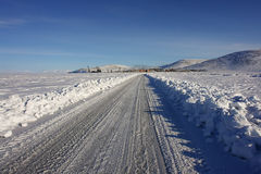 Winter road on ice in Chukotka. Royalty Free Stock Photography