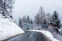 Winter Road Icy Forest Covered Snow Scenic Mountain Austria stock photo