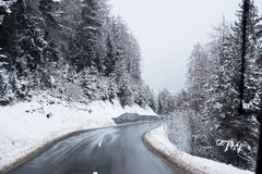 Winter Road Icy Forest Covered Snow Scenic Mountain Austria royalty free stock photos
