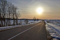 Winter Road Landscape Royalty Free Stock Photos