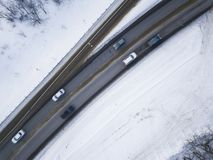 Winter road landscape - Aerial view.  royalty free stock image