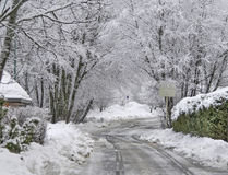 Winter road landscape. Small street on snow in winter Royalty Free Stock Images