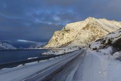 Winter road on Lofoten Islands Royalty Free Stock Image