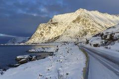 Winter road on Lofoten Islands Royalty Free Stock Photography