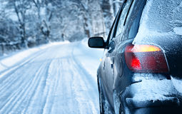 Winter road in the morning. Car on winter road in the morning royalty free stock photos