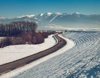 Winter road in the mountain region, Zilina, Slovak Republic Royalty Free Stock Photo