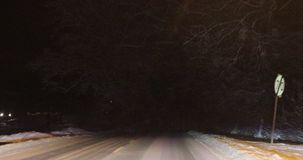 Winter road at night. The road in the night in winter stock video footage