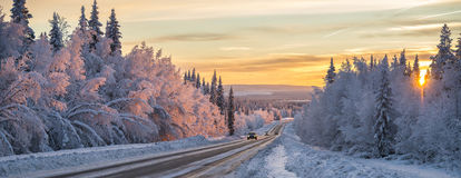 A winter road in northern Sweden Royalty Free Stock Photos