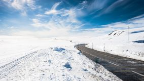 Winter road. A winter road over mountain passage between Oslo and Bergen in Norway Royalty Free Stock Images
