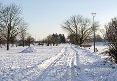 Winter road in park Royalty Free Stock Images