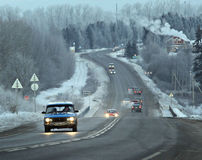 Winter road route blur truck. Winter russiam  road route blur truck Stock Images