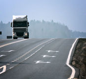 Winter road route blur truck Royalty Free Stock Photos