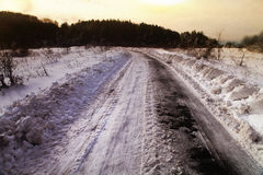 Winter road in rural areas Stock Photography