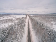 Winter road. Russia, near Moscow Royalty Free Stock Photography