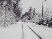 Winter road. Russian winter road Royalty Free Stock Photo