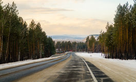 Winter road in Siberia Royalty Free Stock Image