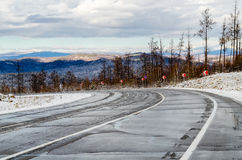 Winter road in Siberia Royalty Free Stock Photo