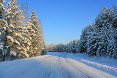 Winter road in Siberia Stock Photos