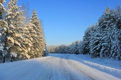 Winter road in Siberia Stock Photos