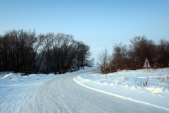 Winter road with sign Stock Image
