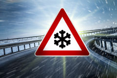 Winter road sign Stock Images