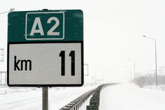 WINTER - ROAD SIGNS Royalty Free Stock Images