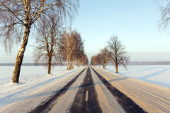 The winter road Stock Images