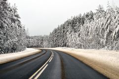 Winter road. And snow caps on the trees, Russia Royalty Free Stock Photography