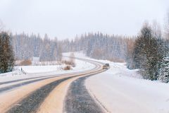 Winter road in Snow Forest in Cold Finland in Lapland. Winter road in a Snow Forest in Cold Finland in Lapland stock photography