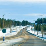 Winter road at Snow Forest in Cold Finland of Lapland. Winter road at a Snow Forest in Cold Finland of Lapland royalty free stock photo