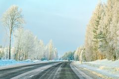Winter road in Snow Forest in Cold Finland of Lapland. Winter road in a Snow Forest in Cold Finland of Lapland royalty free stock photos