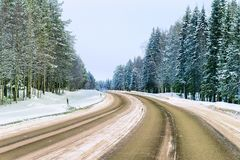 Winter road at Snow Forest in Cold Finland in Lapland. Winter road at a Snow Forest in Cold Finland in Lapland royalty free stock photos