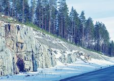 Winter road on Snow Forest in Cold Finland of Lapland. Winter road on a Snow Forest in Cold Finland of Lapland stock images