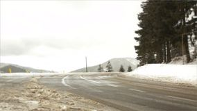 Winter road during snow storm. Winter highway during snow storm, poor visibility stock video