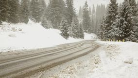 Winter road during snow storm. Winter highway during snow storm, poor visibility stock footage
