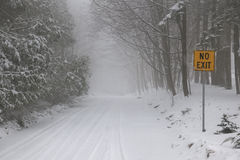 Winter road during snow storm Royalty Free Stock Photo
