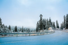 Winter road in the snow weather Royalty Free Stock Photos