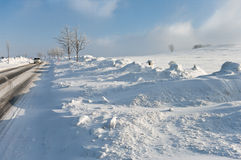 Winter, road, snowdrift Royalty Free Stock Photos