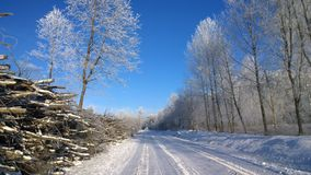 Winter road. Winter landscape. Royalty Free Stock Images