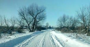 Winter road. Winter snowy rural road Stock Photo