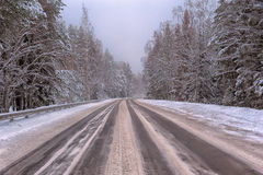 Winter road. With some fog, Russia Royalty Free Stock Images
